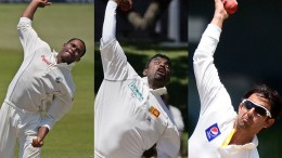 West Indian Marlon Samuels, Sri Lankan Muttiah Muralitharan and Pakistani Saeed Ajmal