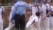 Video: Cricket shoulder charge