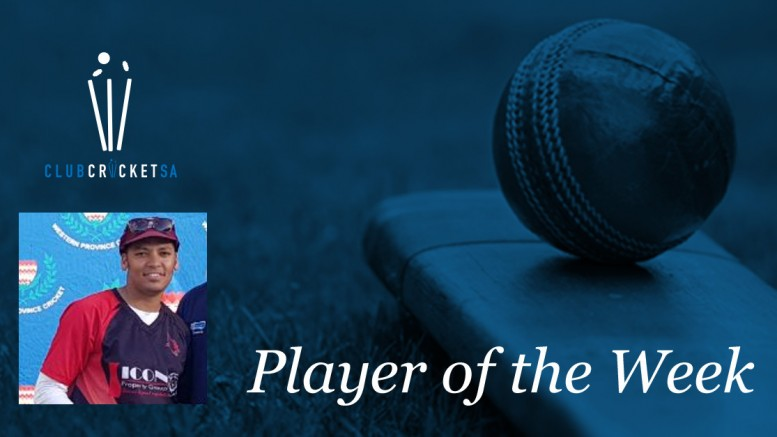 Earl Khan Club Cricket SA Player of the Week