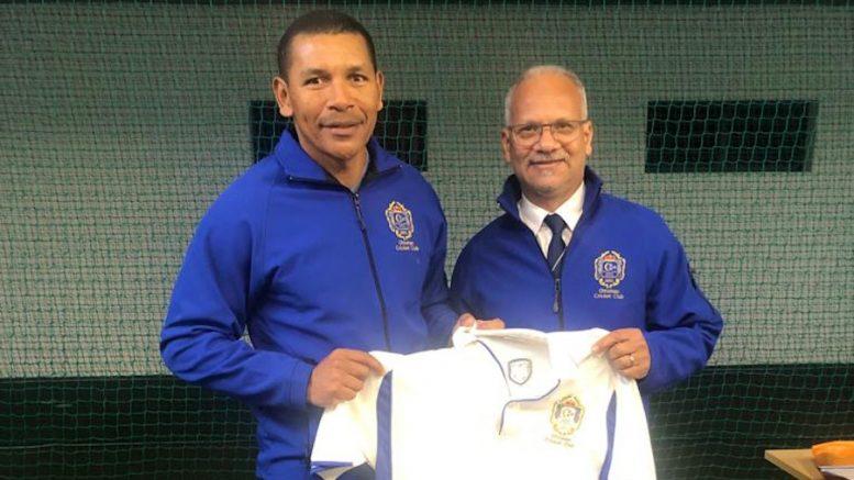 File image: Rasheed Lewis and Ottoman Cricket Club chairman Fareed Abrahams.